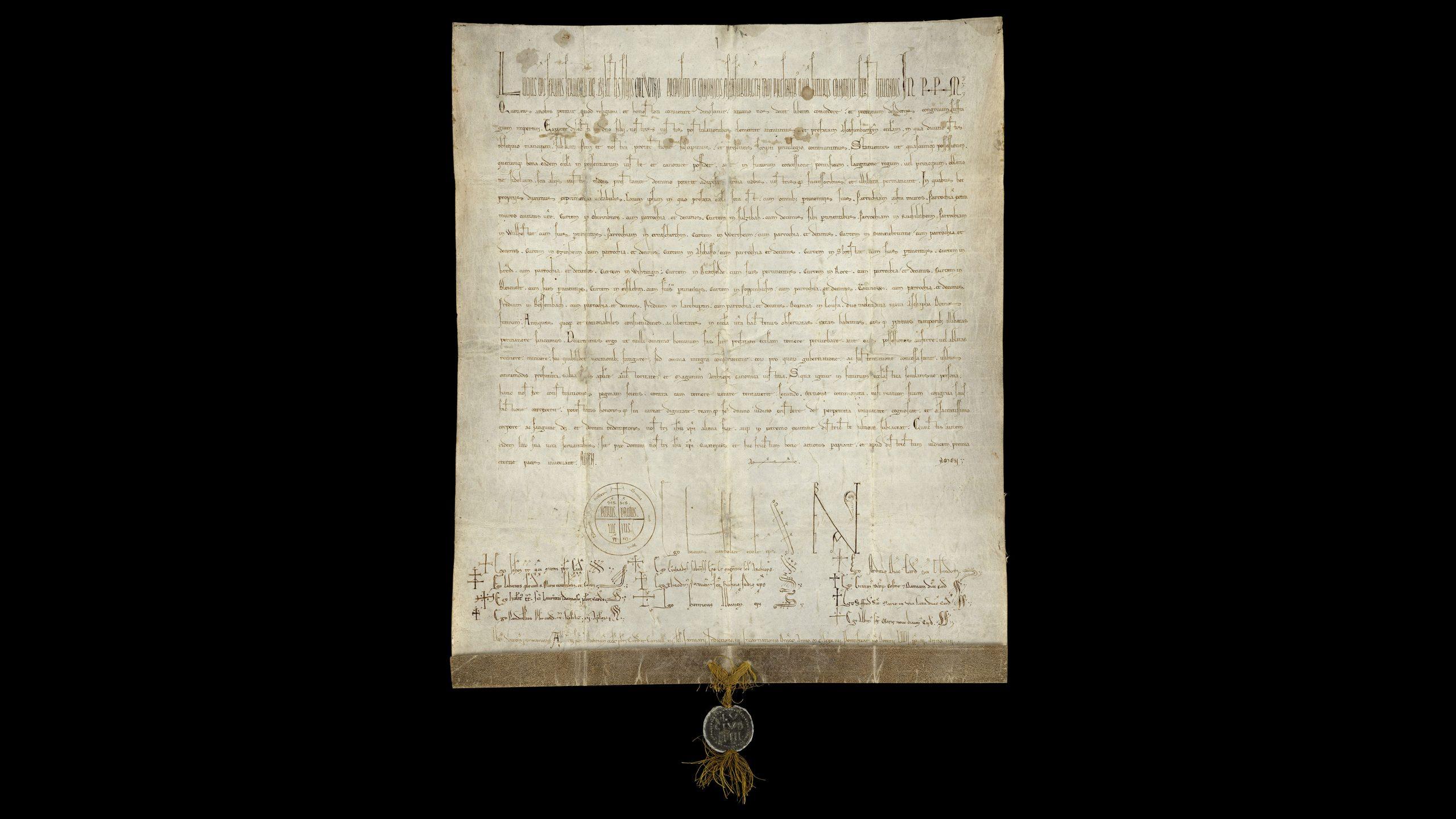 Stiftsarchiv, Urkunden, Nr. 1456: 1184 Dezember 21, Verona, Papst Lucius III. nimmt das Stift Aschaffenburg in seinen apostolischen Schutz und verfügt die Unverletzlichkeit seines Besitzes und seiner Rechte. Pergament, Bleibulle des Papstes
